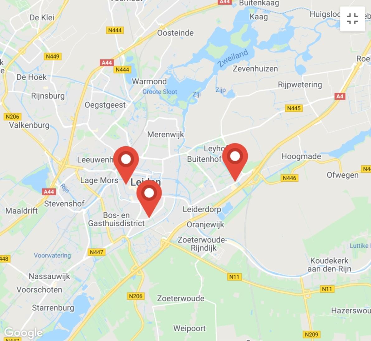 Kaart coronatest-leiderdorp.com - Coronatest locaties Leiden